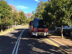 A fire truck in Banksia St demonstrates concerns