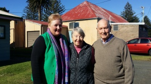 Ann Sudmalis with Margaret and Colin Sharpe
