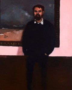 Day at the gallery with Dane Taylor,     oil on wood panel     27.5 x 22.5 cm