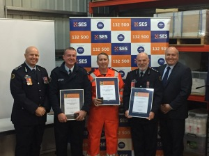 Greg Newton, Acting Commissioner, NSW SES with new Life Members Chris Warren, Local Controller;  Mal Anderson, Logistics Officer;  and John Wall, Deputy Local Controller; and the Hon David Elliott MP