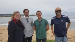 Carole Johnston, Council's Strategic Tourism and Marketing Manager, with Will Hayden-Smith, Luke Madden, CEO, Surfing NSW, and Andy Mole, Council's Supervising Beach Lifeguard